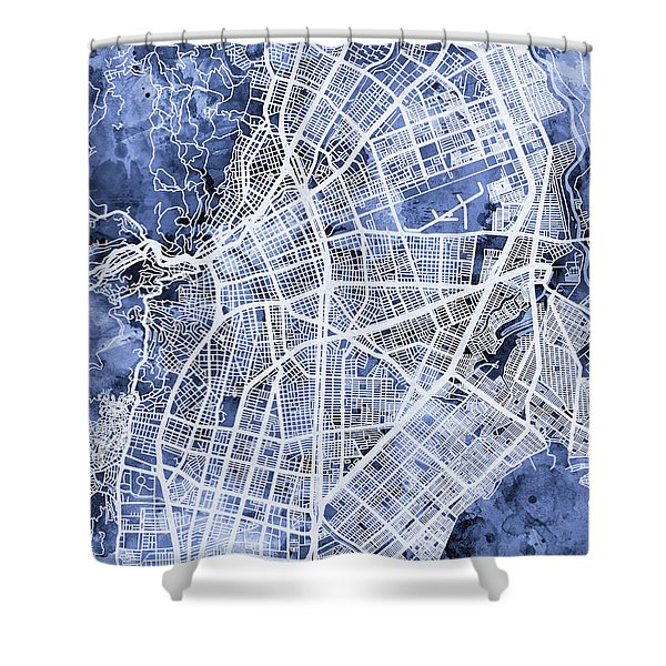 Cali Colombia City Map Shower Curtain