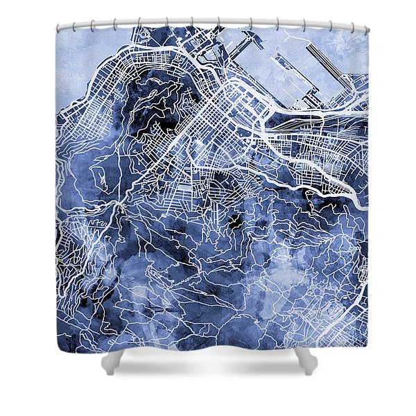 Cape Town South Africa City Street Map Shower Curtain