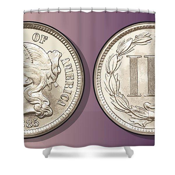 3 Cent Nickel Shower Curtain