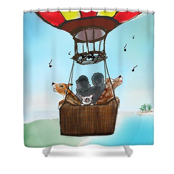 3 Dogs Singing In A Hot Air Balloon Shower Curtain