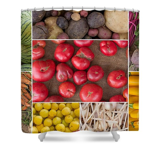 Fruit And Vegetable Collage Shower Curtain