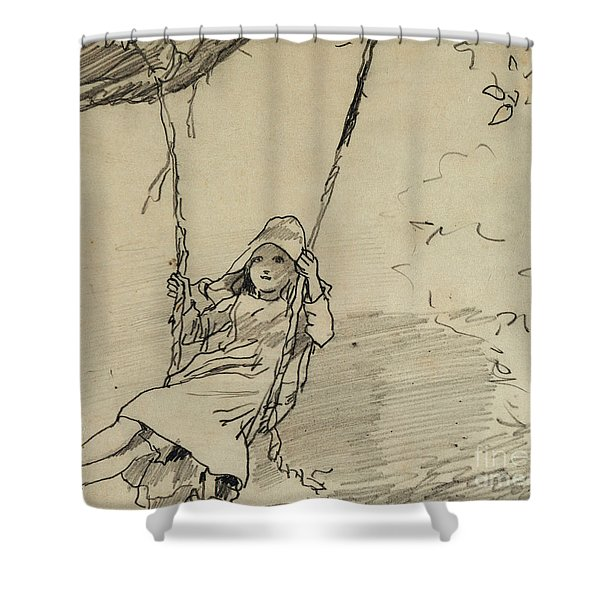Girl On A Swing Shower Curtain