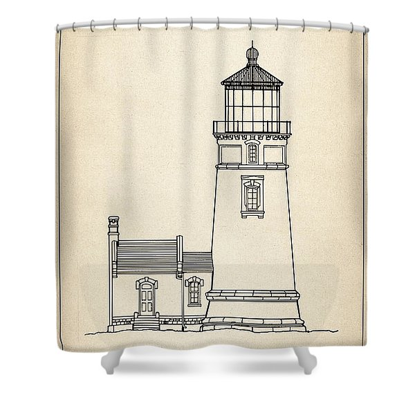 Heceta Head Lighthouse - Oregon - Blueprint Drawing Shower Curtain
