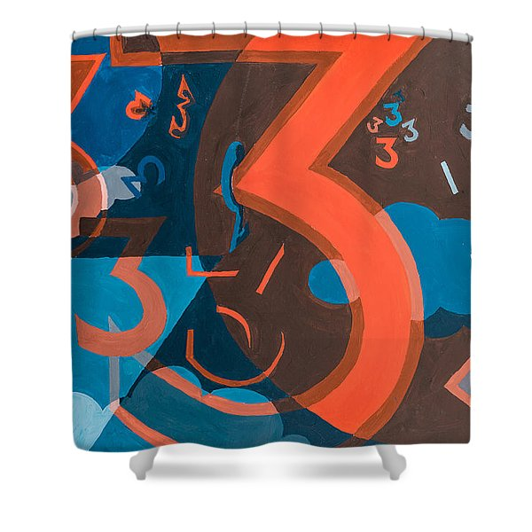 Shower Curtain featuring the painting 3 In Blue And Orange by Break The Silhouette