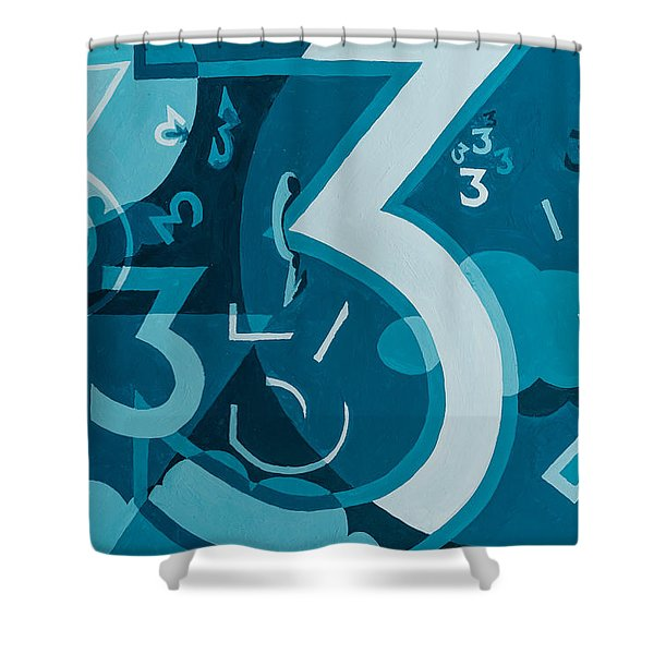 Shower Curtain featuring the painting 3 In Blue by Break The Silhouette