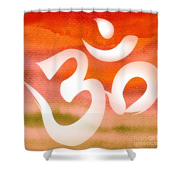 Om Symbol. Orange Shower Curtain