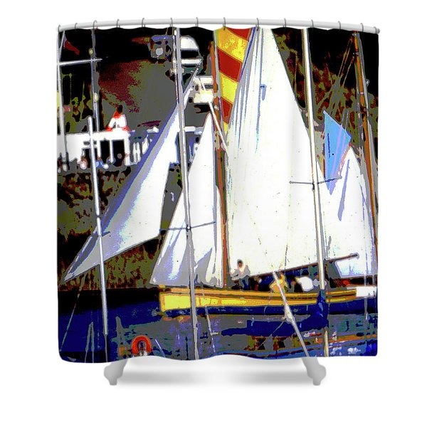 Oyster Boats Shower Curtain
