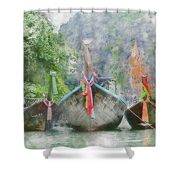 Traditional Long Boat In Thailand Shower Curtain