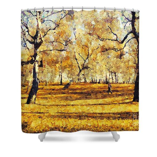 Watercolor Landscape Autumn Painting Forest Shower Curtain