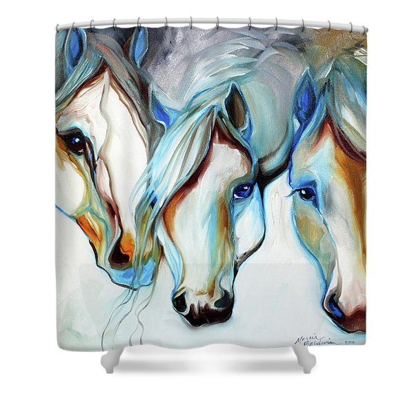 3 Wild Horses In Abstract Shower Curtain