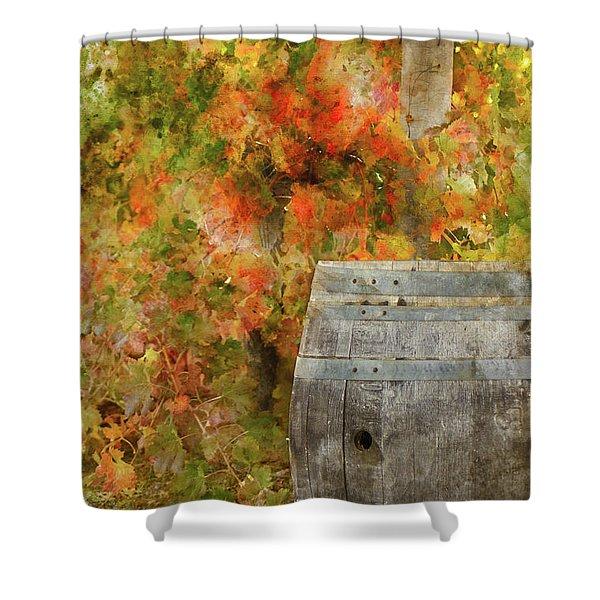 Wine Barrel In Autumn Shower Curtain