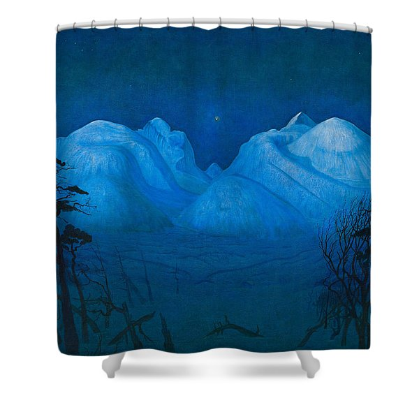 Winter Night In The Mountains Shower Curtain