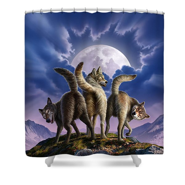 3 Wolves Mooning Shower Curtain