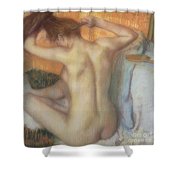 Woman Combing Her Hair Shower Curtain