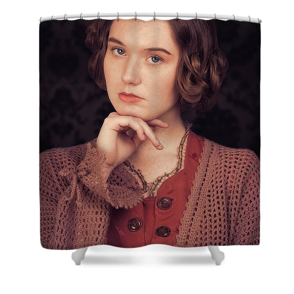 Woman In Period Costume Shower Curtain