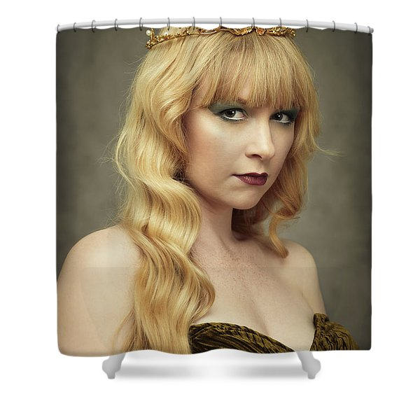 Young Woman Wearing Crown Shower Curtain