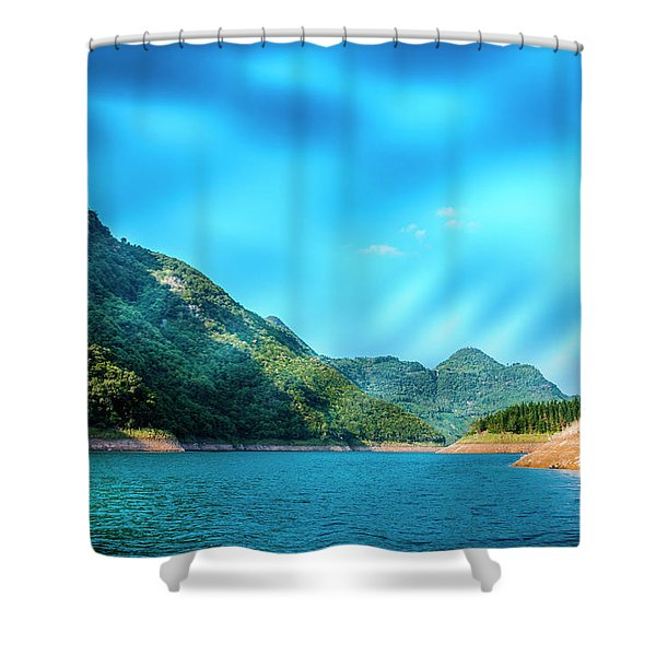 The Mountains And Reservoir Scenery With Blue Sky Shower Curtain
