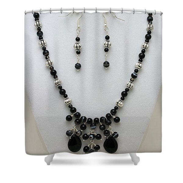 3601 Black Banded Onyx Necklace And Earrings Shower Curtain by Teresa Mucha