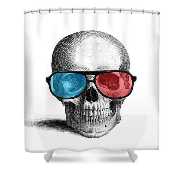 skull with 3D glasses Shower Curtain