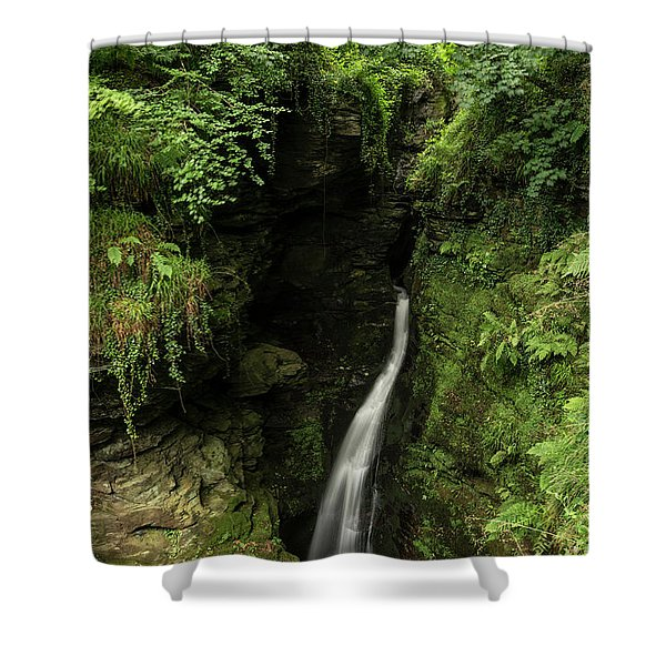 Beautiful Flowing Waterfall With Magical Fairytale Feel In Lush  Shower Curtain