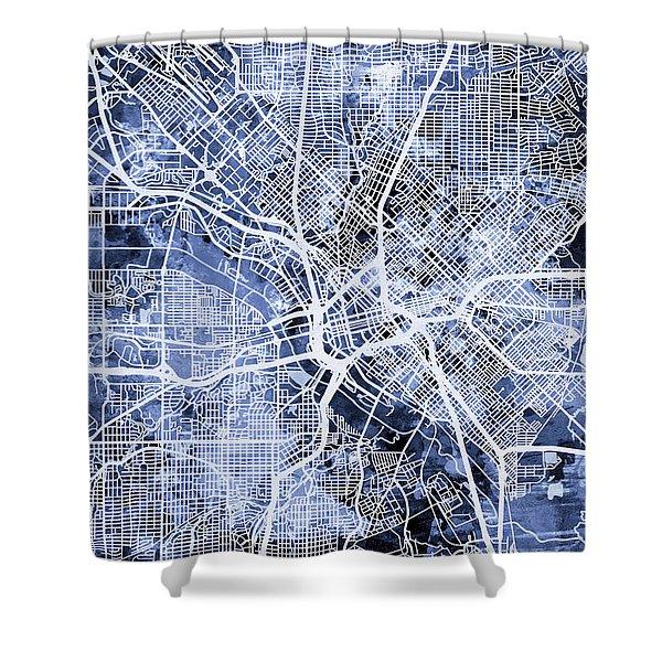 Dallas Texas City Map Shower Curtain