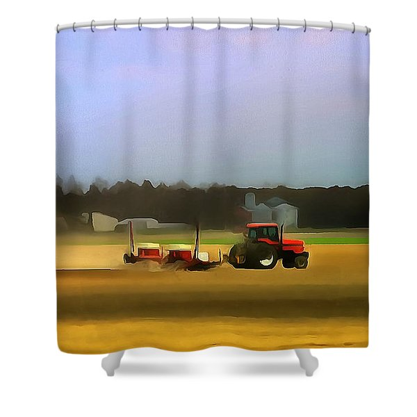 Red Tractor On The Farm Shower Curtain