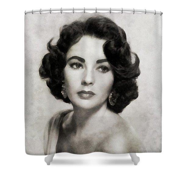 Elizabeth Taylor, Vintage Actress By Js Shower Curtain