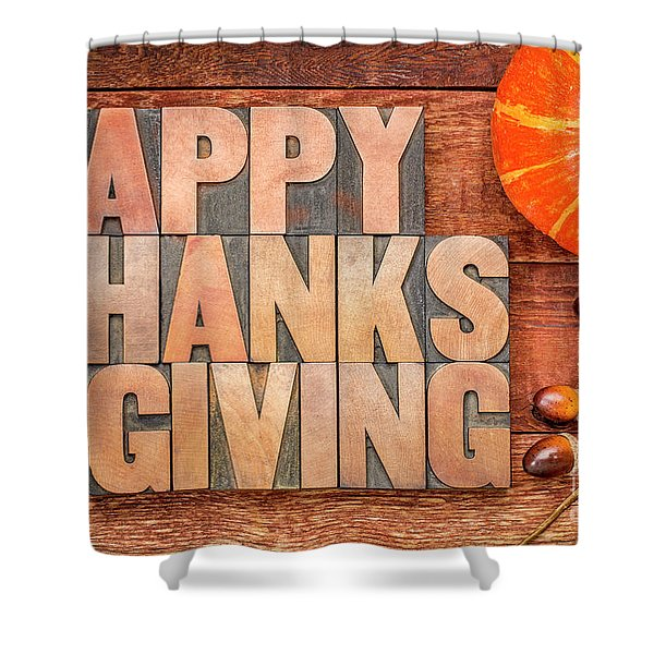Happy Thanksgiving Greeting Card Shower Curtain