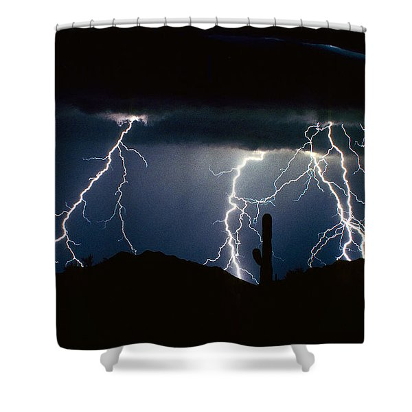 4 Lightning Bolts Fine Art Photography Print Shower Curtain