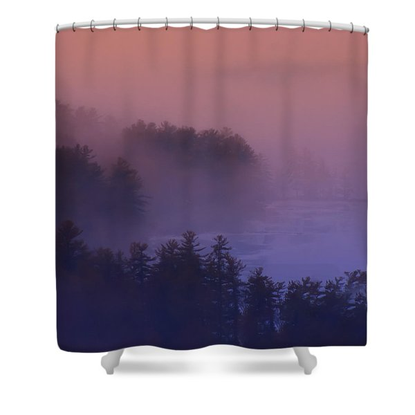 Melvin Bay Fog Shower Curtain