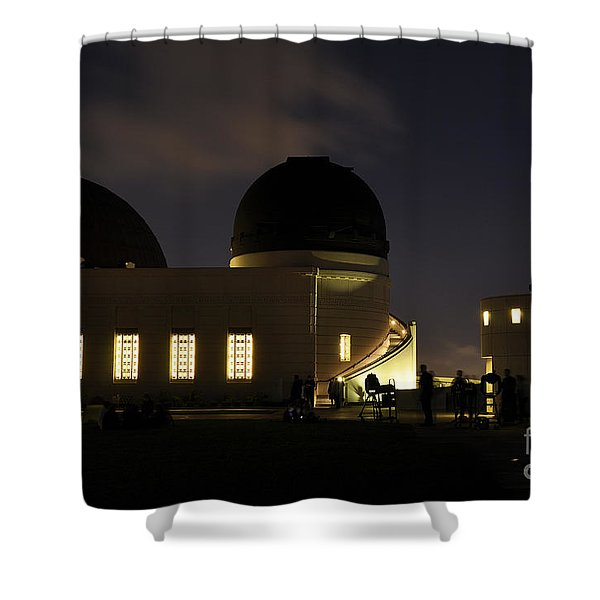 Night At Griffeth Observatory Shower Curtain
