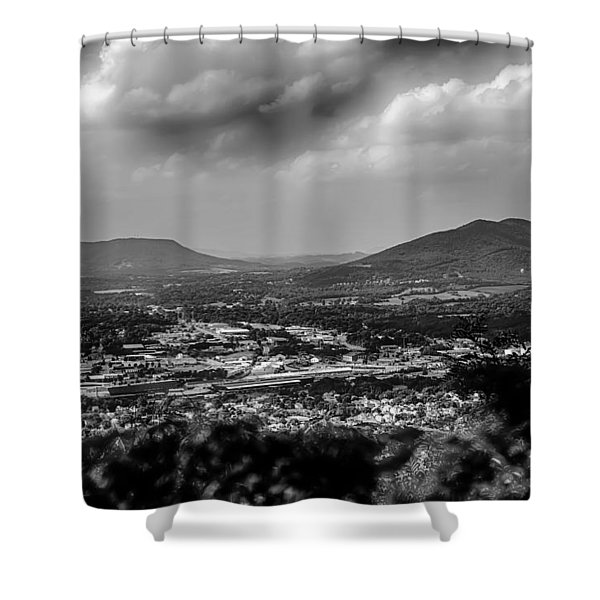 Shower Curtain featuring the photograph Roanoke City As Seen From Mill Mountain Star At Dusk In Virginia by Alex Grichenko
