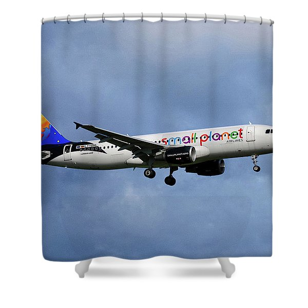 Small Planet Airlines Airbus A320-214 Shower Curtain