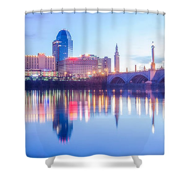 Shower Curtain featuring the photograph Springfield Massachusetts City Skyline Early Morning by Alex Grichenko