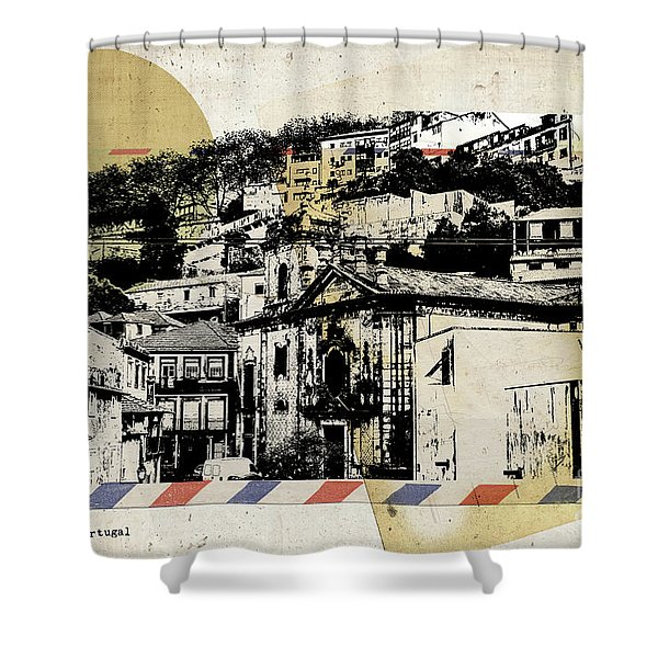 stylish retro postcard of Porto  Shower Curtain