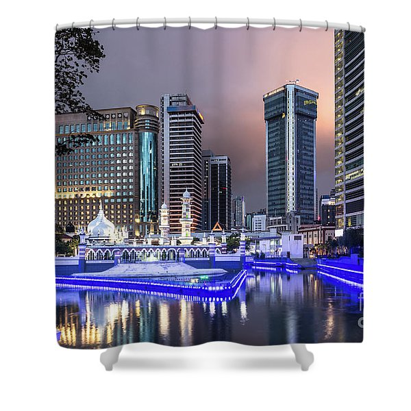 The Office Buildings Reflects In The Water Of The Klang River In Shower Curtain