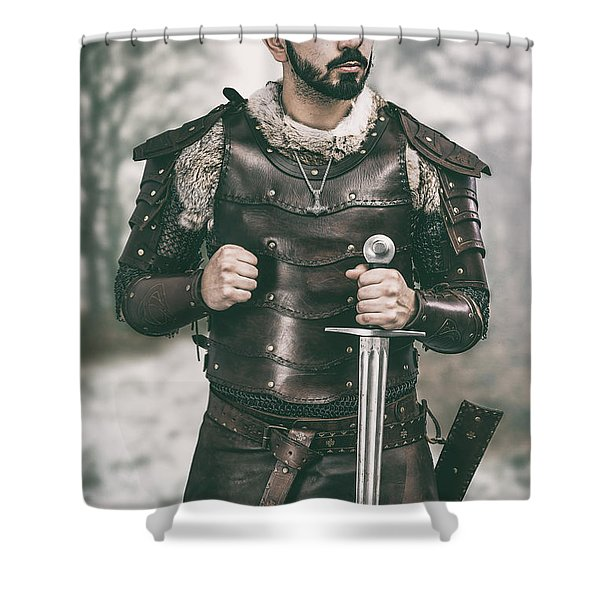 Viking Warrior With Sword Shower Curtain