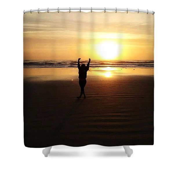 Happy By The Sea Shower Curtain
