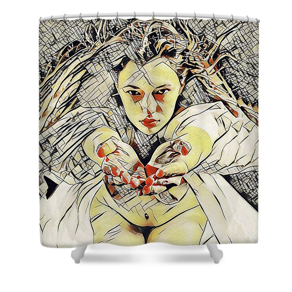 4448s-ab The Succubus Comes For You Erotica In The Style Of Kandinsky Shower Curtain