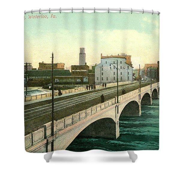 4th Street Bridge Waterloo Iowa Shower Curtain