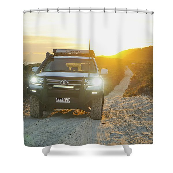 4wd Car Explores Sand Track In Early Morning Light Shower Curtain