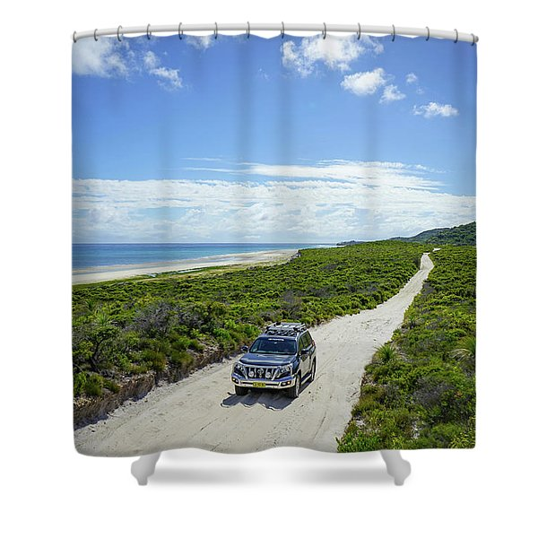 4wd Car Exploring Remote Track On Sand Island Shower Curtain