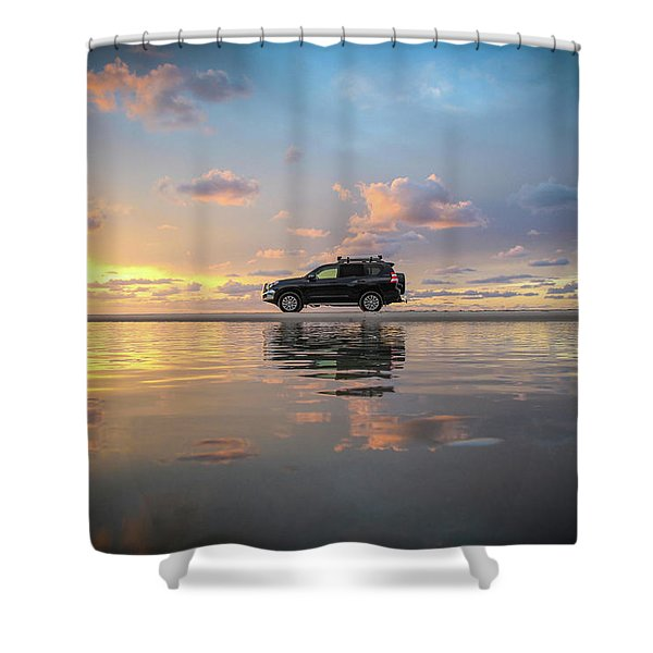 4wd Vehicle And Stunning Sunset Reflections On Beach Shower Curtain
