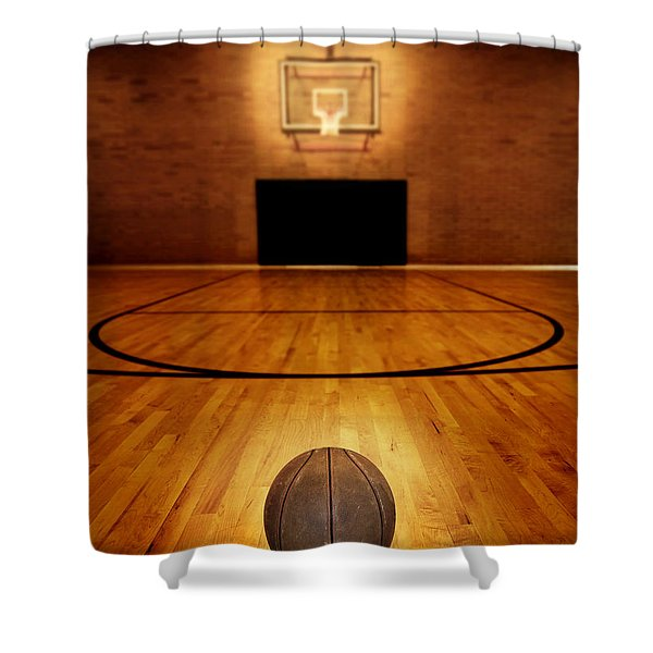 Basketball And Basketball Court Shower Curtain