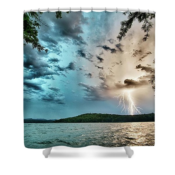 Shower Curtain featuring the photograph Beautiful Landscape Scenes At Lake Jocassee South Carolina by Alex Grichenko