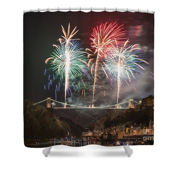 Clifton Suspension Bridge Fireworks Shower Curtain