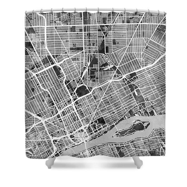 Detroit Michigan City Map Shower Curtain