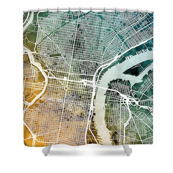 Philadelphia Pennsylvania Street Map Shower Curtain