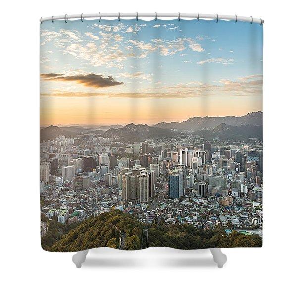 Sunset Over Seoul Shower Curtain