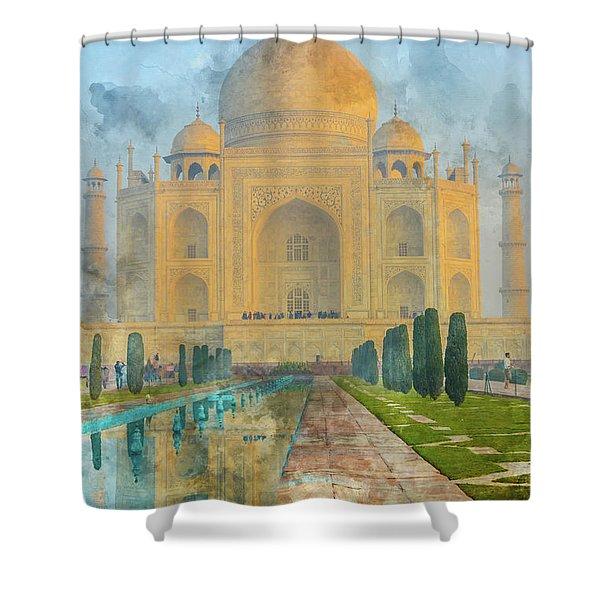 Taj Mahal In Agra India Shower Curtain